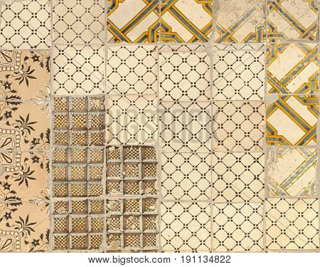 Tile texture background with brown decorations .