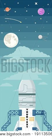 Rocket ship in a flat style. illustration. Space travel to the moon.Space rocket launch.Project start up and development process.