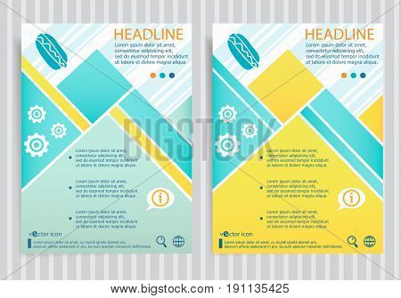 Hot Dog Symbol On Vector Brochure Flyer Design Layout Template