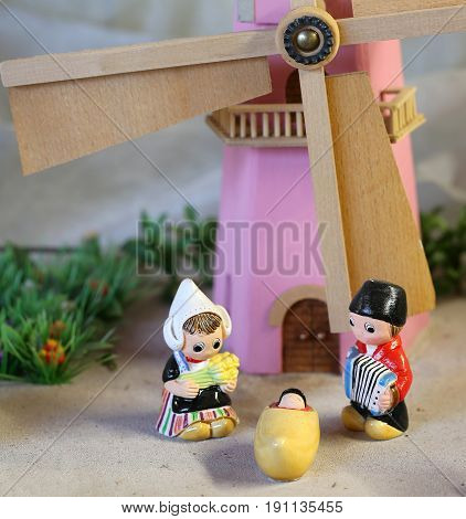 Dutch nativity scene with Holland windmill and small figurines