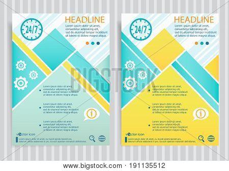 24 Hours Service Symbol On Vector Brochure Flyer Design Layout Template