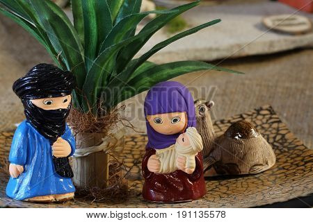 North African Style Nativity Scene With The Holy Family
