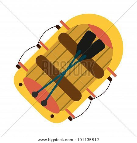 raft with oars boat icon image vector illustration design