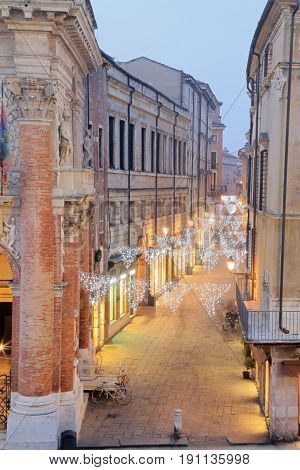 Vicenza, Italy, Night Scene With Christmas Lights With A Very Lo