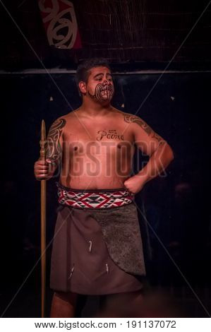 NORTH ISLAND, NEW ZEALAND- MAY 17, 2017: Close up of a Tamaki Maori leader man with traditionally tatooed face and in traditional dress at Maori Culture holding a wood lance, Tamaki Cultural Village, Rotorua, New Zealand.