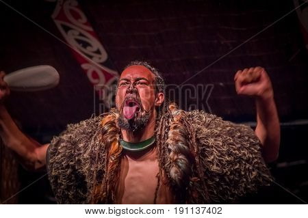 NORTH ISLAND, NEW ZEALAND- MAY 17, 2017: Tamaki Maori man sticking out tongue with traditionally tatooed face and in traditional dress at Maori Culture, Tamaki Cultural Village, Rotorua, New Zealand.
