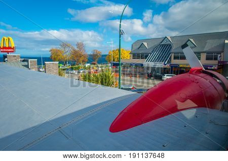 NORTH ISLAND, NEW ZEALAND- MAY 18, 2017: Panoramic view from the amazing DC3 plane as part of the McDonald's located at Taupo, New Zealand, and it is 10 coolest McDonald's around the world list.