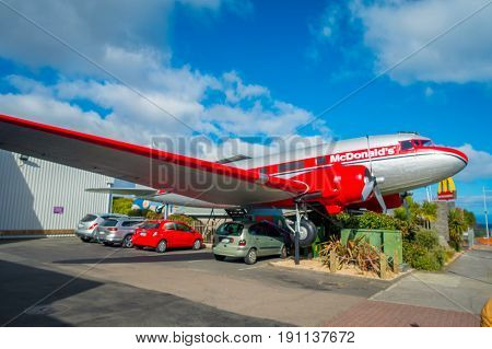NORTH ISLAND, NEW ZEALAND- MAY 18, 2017: Amazing DC3 plane as part of the McDonald's which is located at Taupo, New Zealand.T, and it is 10 coolest McDonald's around the world list.