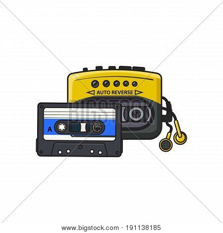 Black and yellow audio player,  and audiotape from 90s, sketch vector illustration isolated on white background. Front view of audio player,  with audio cassette and ear buds, earphones