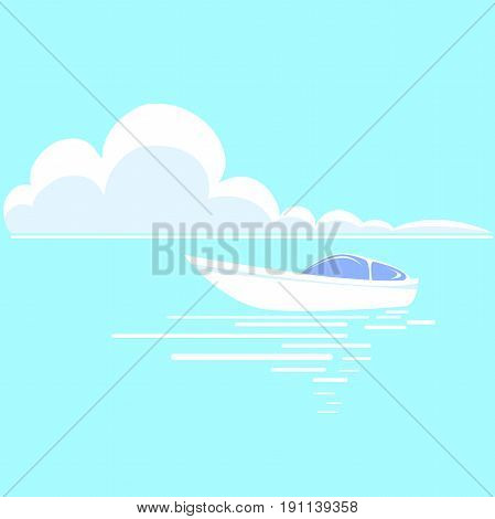 Summer seascape. Beautiful white boat on the horizon surrounded by blue sky and sea waves. Vector illustration of a boat in the ocean. Seascape painting.