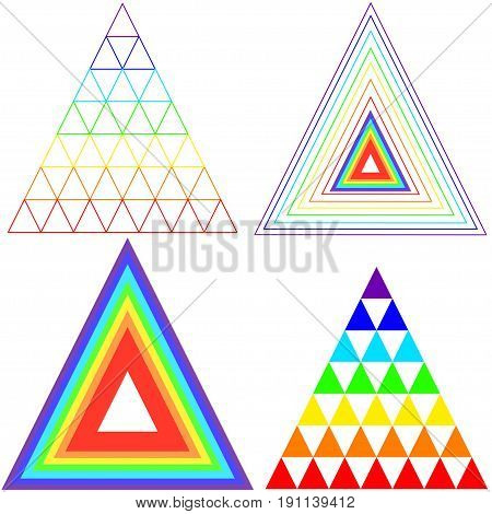Collection triangles iridescent color. Vector design triangles. Isolated bright triangle. Pastel multicolor brush. Rainbow triangle badge