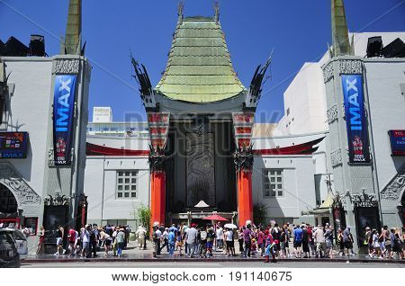 May 21, 2017. Hollywood, California. Hundreds of tourists outside of the landmark iconic TCL Chinese theater exterior in Hollywood area of los angeles california.