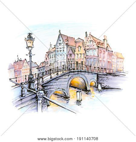 Scenic city view of Bruges canal with bridges, streetlight and beautiful medieval houses at sunset, Belgium. Picture made with markers