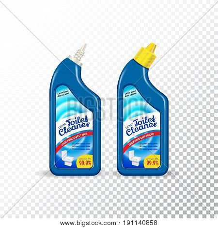 Set of templates realistic package for bottles with Toilet Cleaner. Plastic containers with disinfectant liquid gel. Vector mockup of isolated objects on transparent background