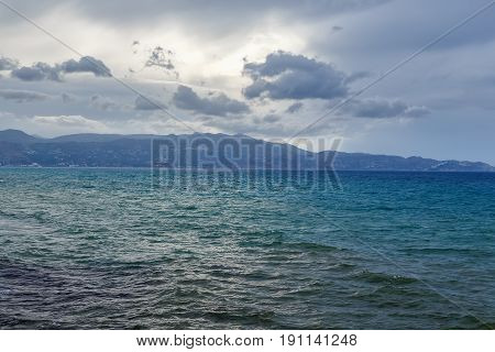 Sea landscape with bad weather and the cloudy sky.