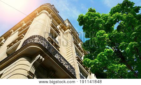 Facade of typical building in Paris France