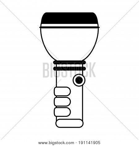 flashlight camping icon image vector illustration design  single black line