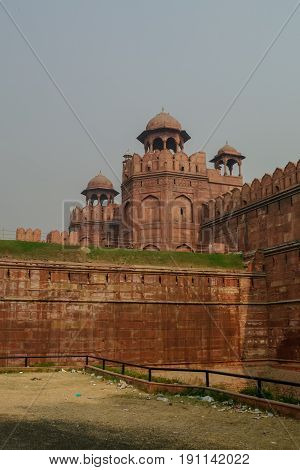 Walls And Tower Of Red Fort (lal Qila) Delhi - World Heritage Site. Delhi, India