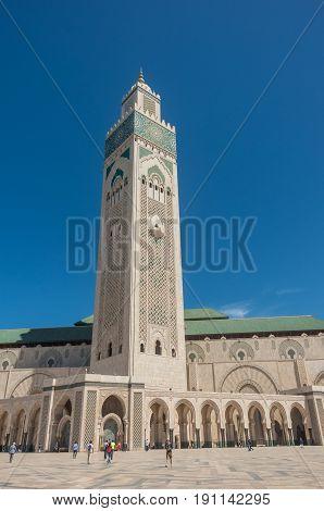 Casablanca, Morocco - May 7, 2017: Minaret of Hassan II Mosque in Casablanca.
