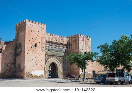 Meknes, Morocco - May 8, 2017: Bab el-Khemis Gate in Meknes
