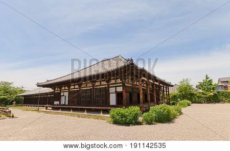 NARA JAPAN - MAY 15 2017: Main Hall (Gokurakubo hondo circa 1244) of Gango-ji Temple in Nara. National Treasure of Japan