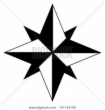 Wind Rose The Black Color Icon .