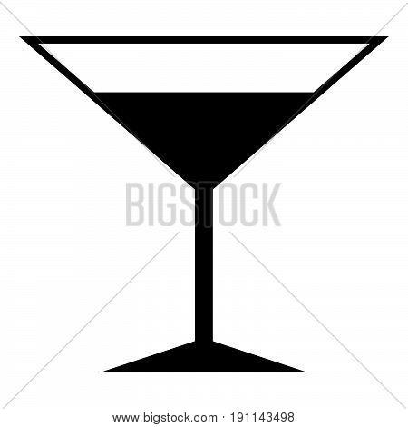 Martini Glass The Black Color Icon .