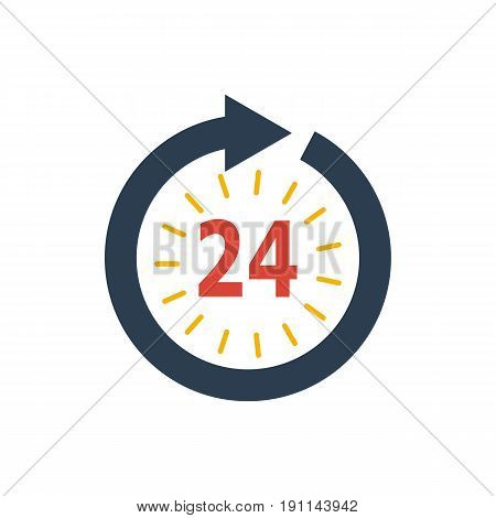 Icon watch timetable 24 hours on white background illustration