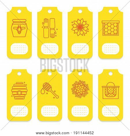 Set of tags for beekeeping, honey, apiary. 8 yellow cards for decoration of packaging of cometics, soap, honey products, pollen, propolis
