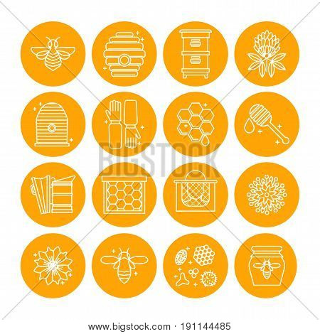Set of icons of beekeeping, honey, apiary. To decorate the packaging of cometics, soaps, honey products, pollen, propolis. For the design of sites, banners, leaflets. Vector illustration