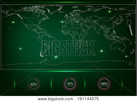 World map of green color, percentages, search