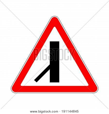 Illustration of Triangle Warning Sign. Priority Over Junction From Left on White