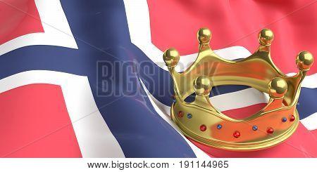 Golden Crown On Norway Flag.3D Illustration