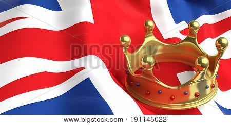 Golden Crown On Uk Flag.3D Illustration