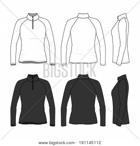 Front, back and side views of raglan sleeved t-shirt with zipper. Female clothing set in white and black colors. Blank vector templates. Fashion illustration. Isolated on white background.