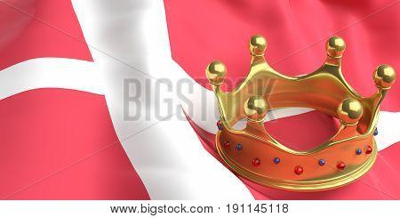 Golden Crown On Denmark Flag.3D Illustration