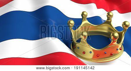 Golden Crown On Thailand Flag.3D Illustration