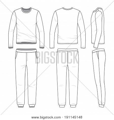 Front, back and side views of lon sleeved shirt and sweatpants. Blank vector templates. Clothing set. Sportswear. Fashion illustration. Isolated on white background.