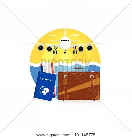 Travel Symbol With Vintage Suitcase And Passport Illustration