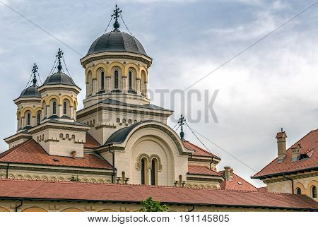 View with towers of Coronation (Reunification) Cathedral from Alba Iulia city Transylvania Romania.
