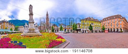 Bolzano Main Square Waltherplatz Panoramic View