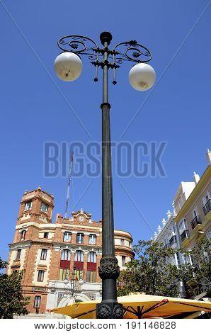 Street lights in Plaza De las Flores Cadiz Spain.