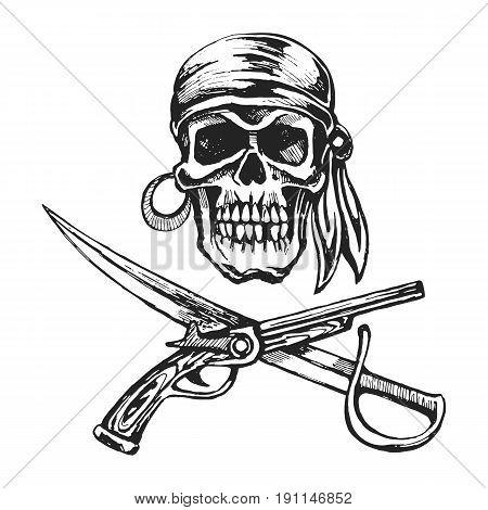 Pirate skull bandanna. Musket and cutlass. Illustration sketch vector stock.