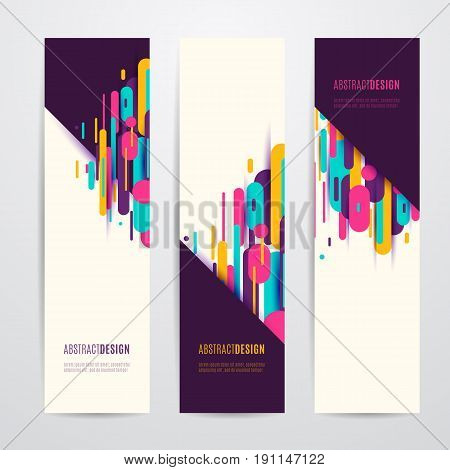 Vector illustration of vertical geometry round, diagonal and line abstract banner set for modish graphic design