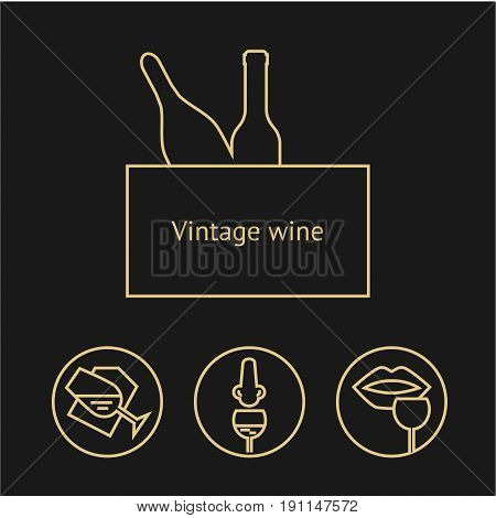 Wine gold icons collection on dark background. Modern outline style. Old wine bottle and tasting process. Can be used for wine shop, wine company and club, for typographic purpose