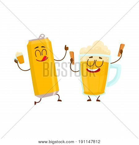 Funny beer can and mug characters having fun, drinking, celebrating together, cartoon vector illustration isolated on white background. Funny beer can and mug characters with smiling human faces