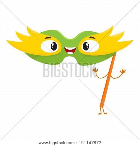 Cute and funny birthday party mask character with smiling human face, cartoon vector illustration isolated on white background. Funny birthday party mask character, mascot