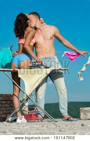 Family Or Sexy Couple In Love, Housekeeping