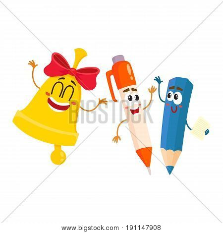 Cute, funny smiling pen, pencil, golden bell characters, back to school concept, cartoon vector illustration isolated on white background. Happy school characters, mascots - pen, pencil, school bell