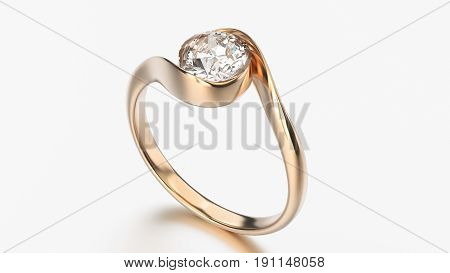 3D illustration rose gold ring bypass with diamond on a grey background